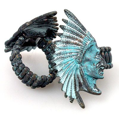 AMERICAN COWGIRL RING Aqua Patina Indian Chief Stretchy Western Ring