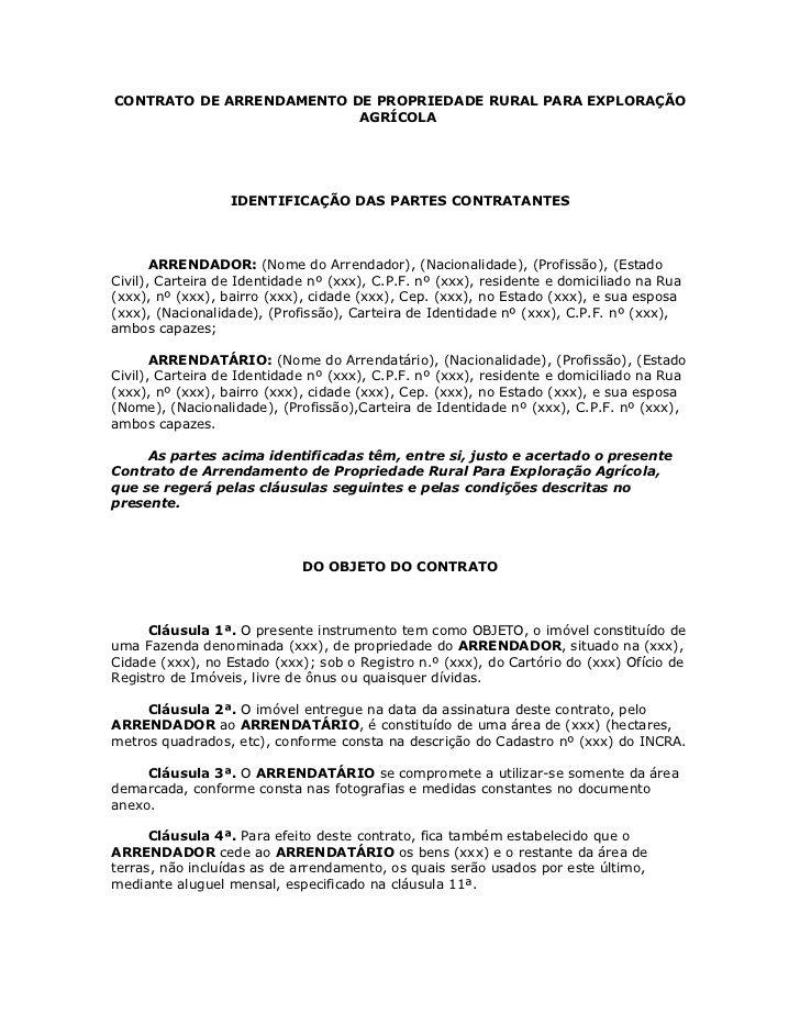 CONTRATO DE ARRENDAMENTO DE PROPRIEDADE RURAL PARA EXPLORAÇÃO                          AGRÍCOLA                  IDENTIFIC...