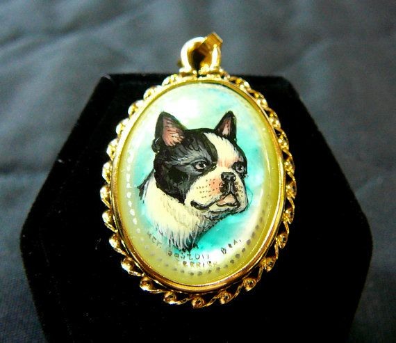 """Boston Terrier Dog Cameo Pendant HAND by SylCameoJewelsStore - Boston Terrier Dog Cameo Pendant HAND PAINTED Jewelry 18"""" Gold Plated Chain Necklace Collectible Original Signed Art"""