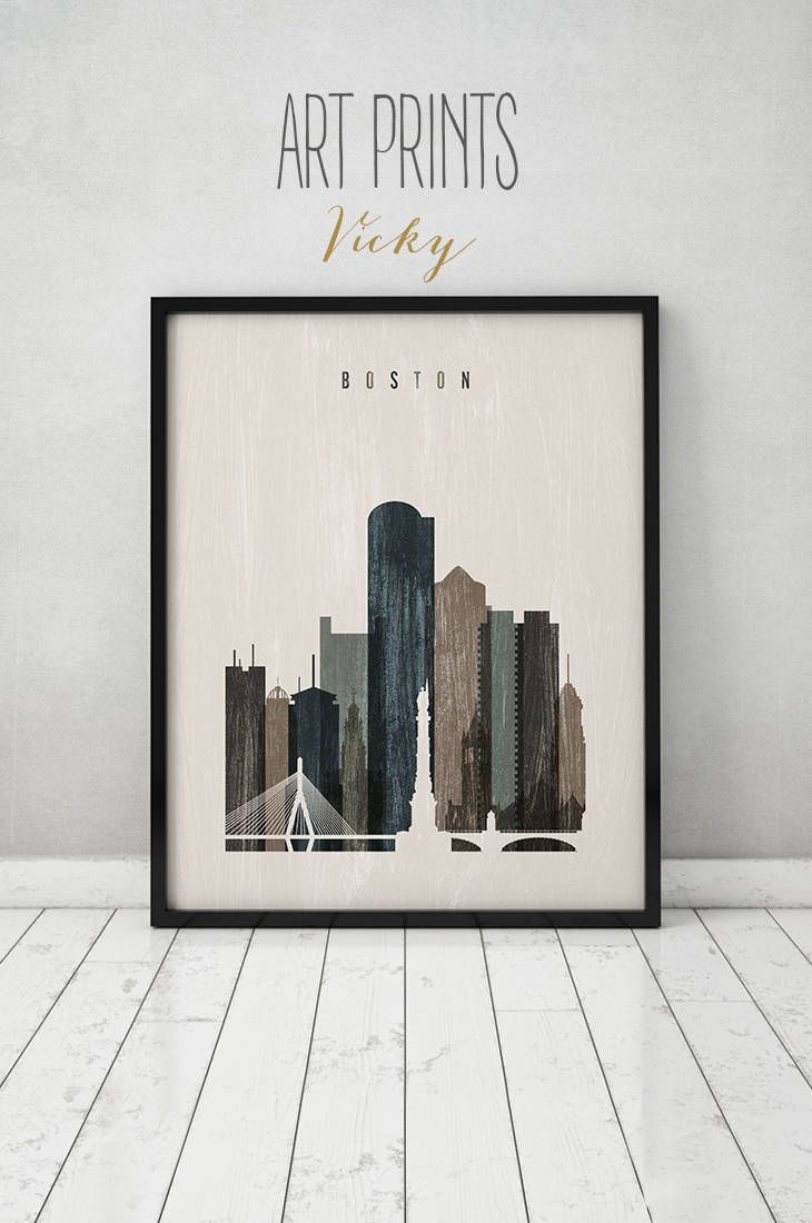 Boston wall art boston skyline print distressed poster travel decor massachusetts