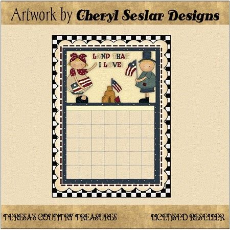 Americana Kids Calendar Printables from Cheryl Seslar Designs includes country primitive calendars with children and red white and blue flags.  Click profile link to