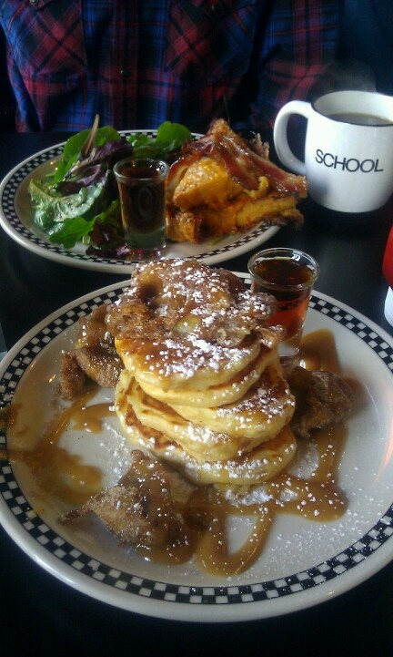 @ School, Toronto - Buttermilk pancakes with PB & Crispy Banana and Cheesy French toast with double smoked bacon...both served with a shot of Quebec Maple Syrup!