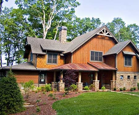 17 best images about rustic house on pinterest house for Metal roof craftsman home