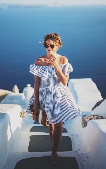 cute off shoulder dress.... cute braid These Dresses Will Shine Your Santorini Vacation