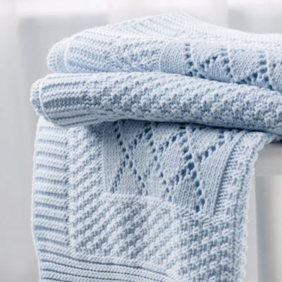 Knitted Patchwork Baby Blanket - Blue from The White Company