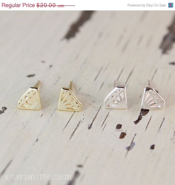 Mothers Day Sale Diamond Earrings  CHOOSE YOUR by stampsandletters