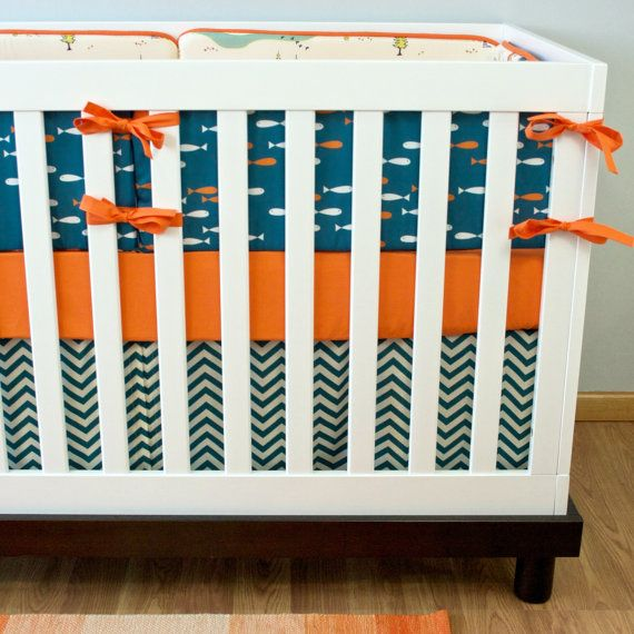 Camping crib bedding fish nursery bedding baby crib set for Fishing baby bedding