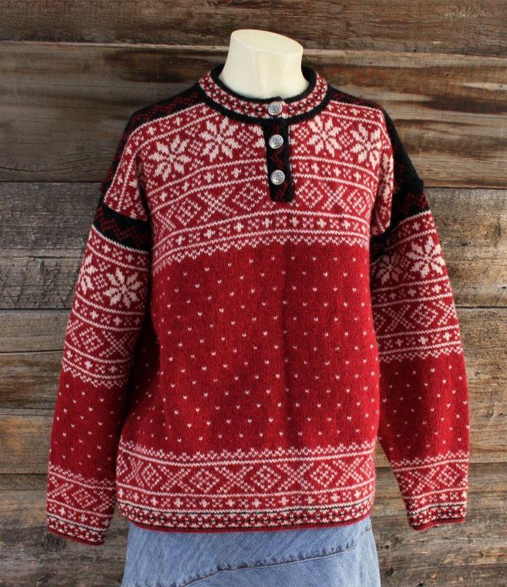 LL Bean Wool Sweater w Snowflake Pattern Like Dale of Norway Women's Size M
