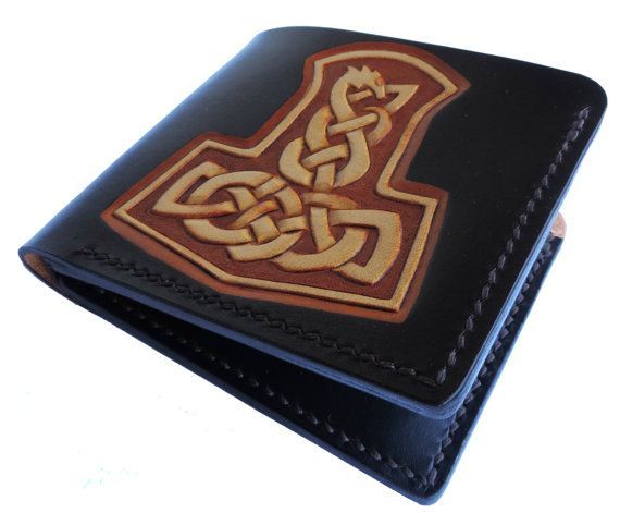 Bifold leather wallet, handmade tooled, Mjolnir - Thor's hammer
