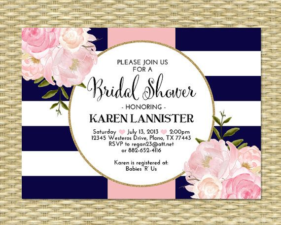 Bridal Shower Invitation Navy Blue Pink Gold Glitter Stripes Floral Peonies…