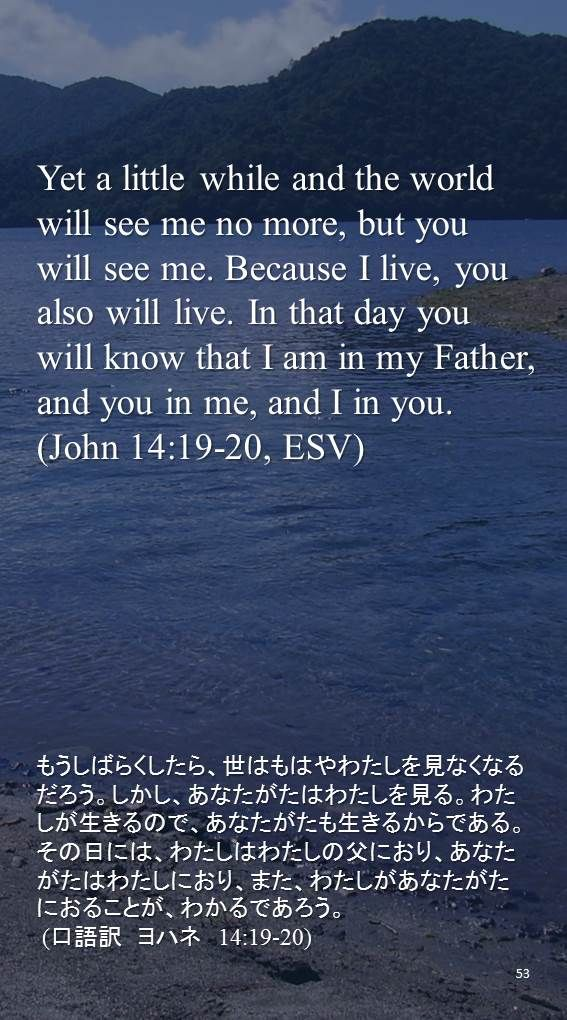 Yet a little while and the world will see me no more, but you will see me. Because I live, you also will live. In that day you will know that I am in my Father, and you in me, and I in you.(John 14:19-20, ESV)もうしばらくしたら、世はもはやわたしを見なくなるだろう。しかし、あなたがたはわたしを見る。わたしが生きるので、あなたがたも生きるからである。その日には、わたしはわたしの父におり、あなたがたはわたしにおり、また、わたしがあなたがたにおることが、わかるであろう。  (口語訳 ヨハネ 14:19-20)