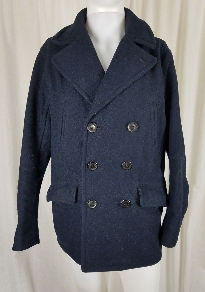 df9ac722 Mens Abercrombie & Fitch Premium Wool Double Breasted Navy Blue Peacoat Coat  S #AbercrombieFitch #Peacoat