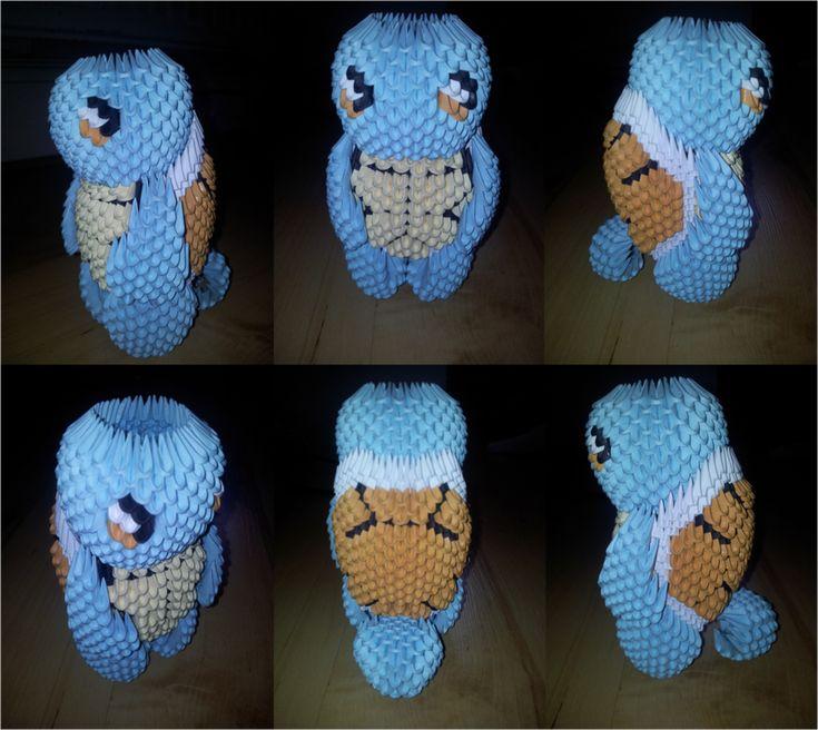 3D Origami Squirtle (Pokemon) by UNSJN.deviantart.com