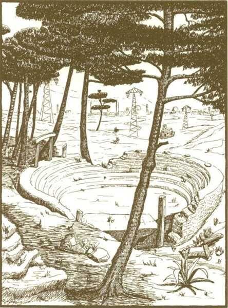 Amphitheater aus dem Buch 'Momo' gezeichnet vom Autor Michael Ende selbst