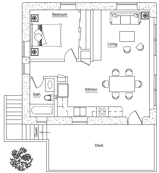 garage apartment upper - but good floor plan for me. Could build with cob, strawbale, cordwood ~ maybe even into a hill by changing windows........ lots of ideas!