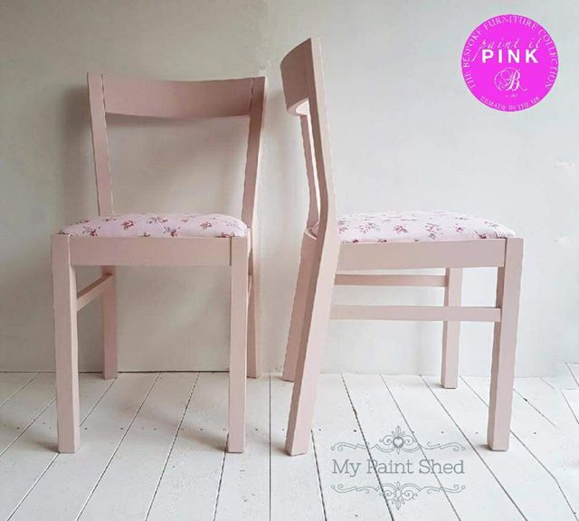 These Chairs Have Been Painted In Pale Pink Chalk Paint And The Seats  Reupholstered In A Pretty Pink Rose Fabric To Complement. Each Chair Has  Been Finished ...