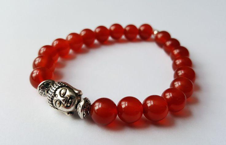 Unisex Genuine Carnelian Buddha Bracelet by Wild Lotus Jewellery