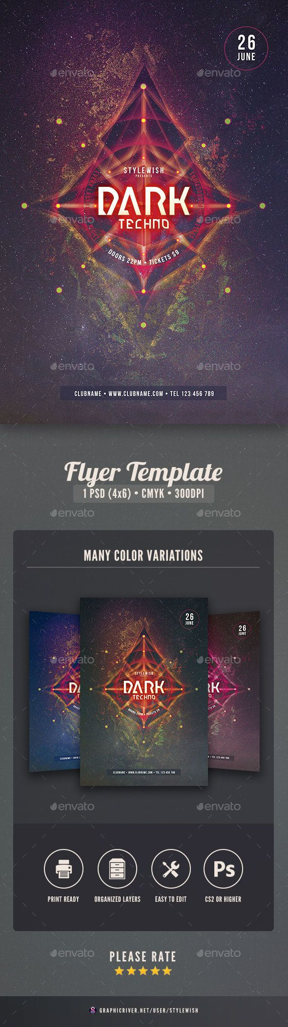 1 color poster design - Dark Techno Flyer