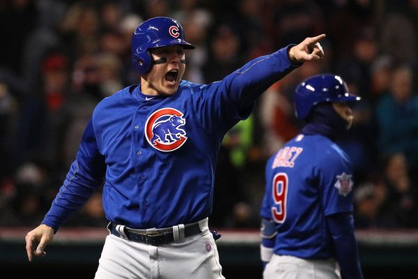 Anthony Rizzo #44 of the Chicago Cubs celebrates scoring a run on an RBI single hit by Kyle Schwarber #12 (not pictured) during the third inning in Game Two of the 2016 World Series against the Cleveland Indians at Progressive Field on October 26, 2016 in Cleveland, Ohio.