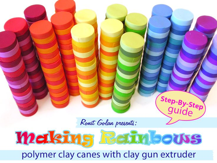 Making Rainbows - Polymer clay canes with clay gun Czextruder with a Step-By-Step guide by Ronit Golan