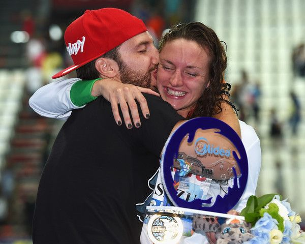Gold medalist Katinka Hosszu of Hungary celebrates with her Husband Shane Tusuphoz poses during the medal ceremony for the Women's 200m Individual Medley on day ten of the 16th FINA World Championships at the Kazan Arena on August 3, 2015 in Kazan, Russia.