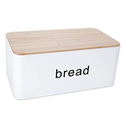 Brotkasten Brotbehälter Brotdose Brotaufbewahrung aus Metall & Bambus 13,5 x 31 x 17 cm BREAD weiss / beige