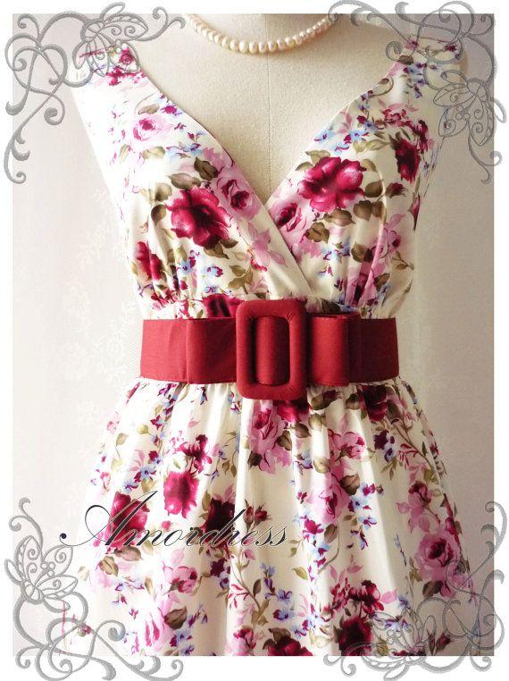 Floral Tea Dress Summer Red Pink Floral Light Cream di Amordress, $42.00