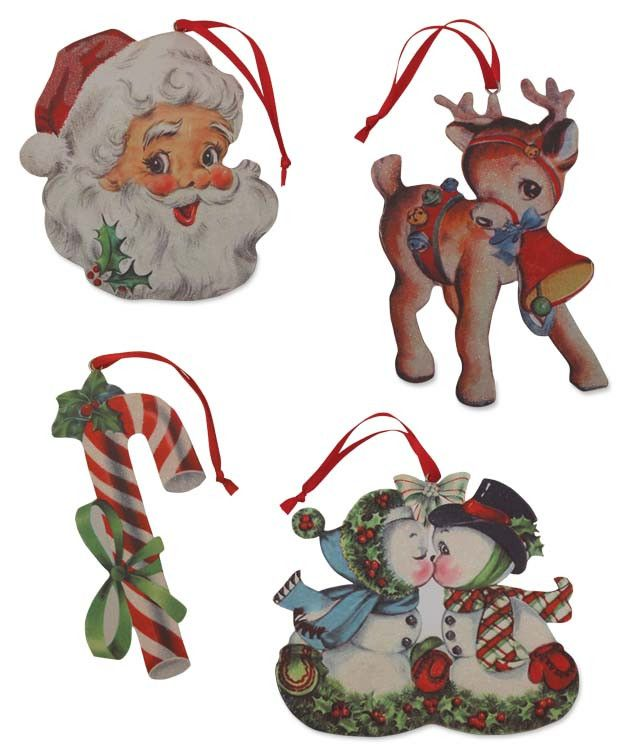 Retro Christmas Diecut Ornaments from The Holiday Barn