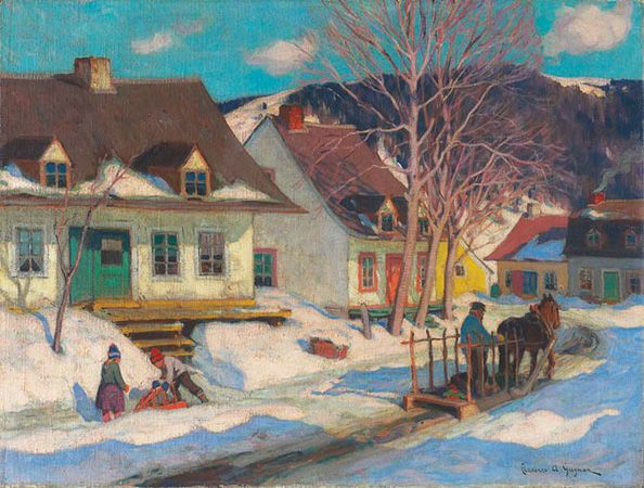 Clarence Gagnon  born and died Montreal, Quebec, 1881–1942  A Québec Village Street, Winter  1920  oil on canvas  56.5 x 74.2 cm  The Thomson Collection © Art Gallery of Ontario
