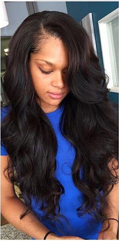 Women's Brazilian virgin hair Body wave Natural or 1b black color U-part wig