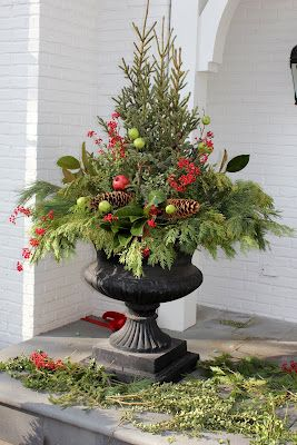 18 best holiday porch inspiration images on pinterest merry christmas outdoor winter arrangement for my planters front porch solutioingenieria
