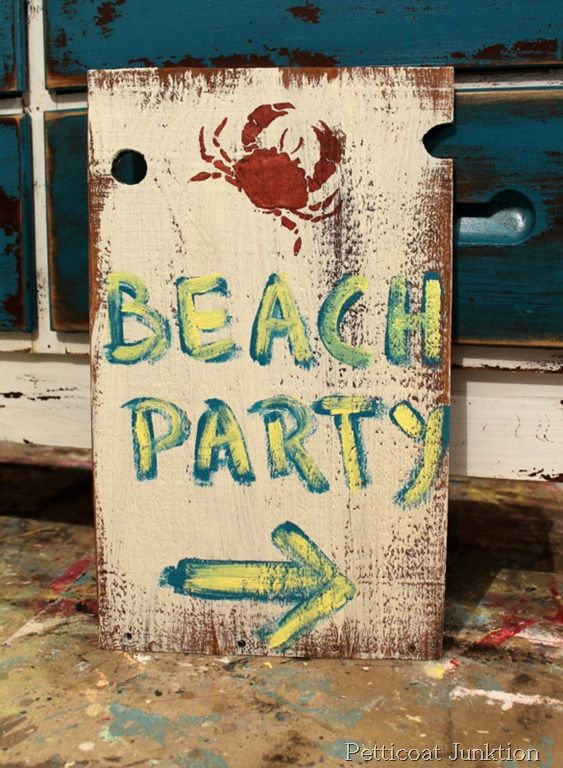 Diy Beach Party Sign, I have lots of big bits of cardboard so I could make some signs to decorate the hall