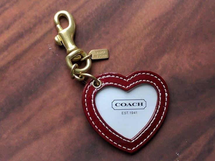 New COACH Burgundy Leather heart shaped frame bag charm. | eBay!