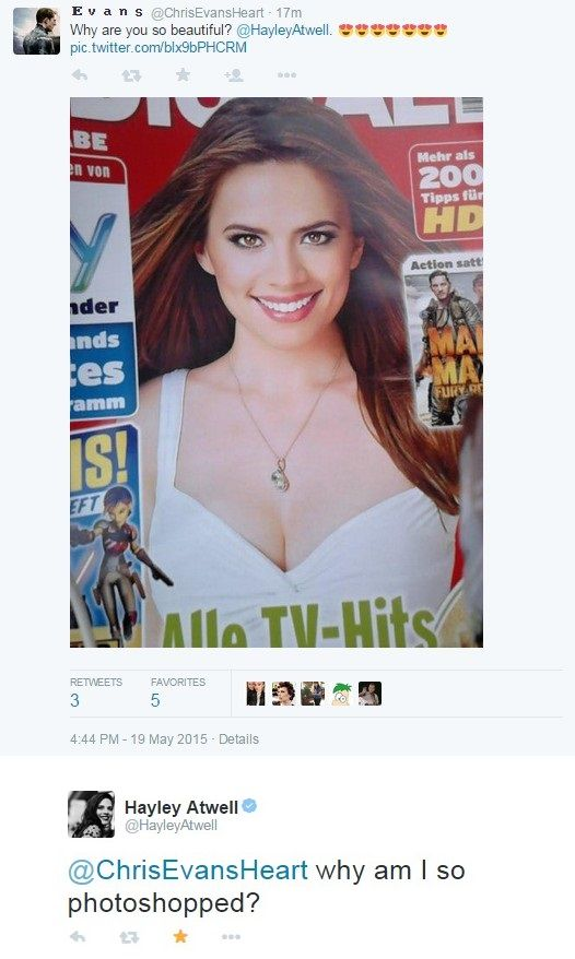 Hayley Atwell is calling you out. I didn't even realize it was her because it was so photoshopped