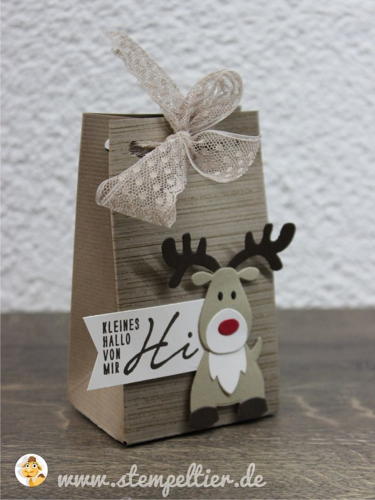 rentier reindeer marianne designs collectables stampin up stempeltier leise rieselt savanne weihnachtsgrüße winter weihnachten christmas bag tüte