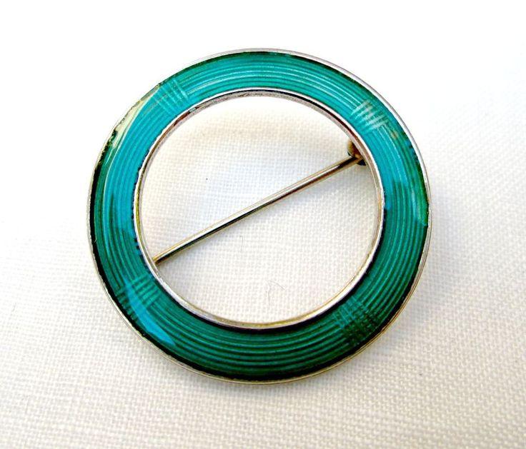 Vintage Aksel Holmsen Beautiful Green Enamel Circle Pin Sterling Silver Norway #AkselHolmsen