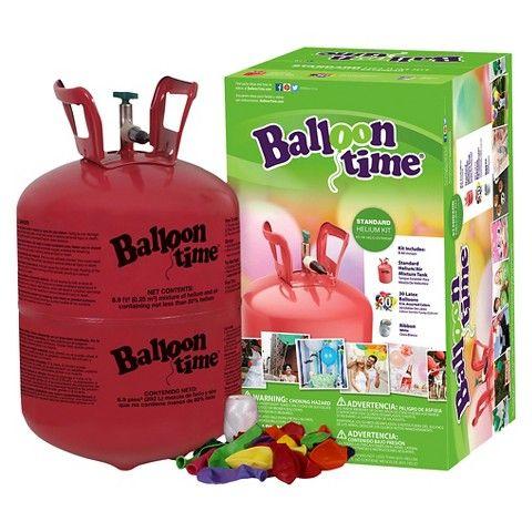 Balloon Time Standard Helium Balloon Kit 8.9 cubic foot, fills around 30 latex balloons or 16 mylar balloons, 23.99 at target