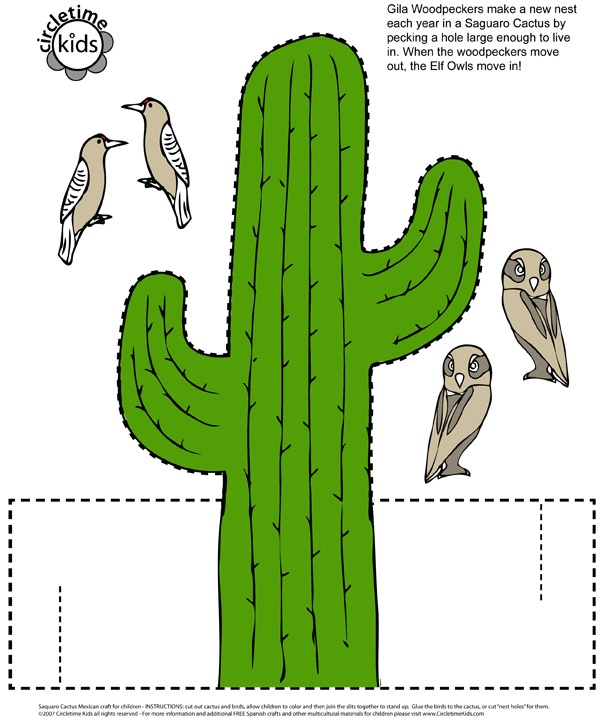 Mexican Saguaro Cactus Paper Cutout Craft For Kids - Printable Template