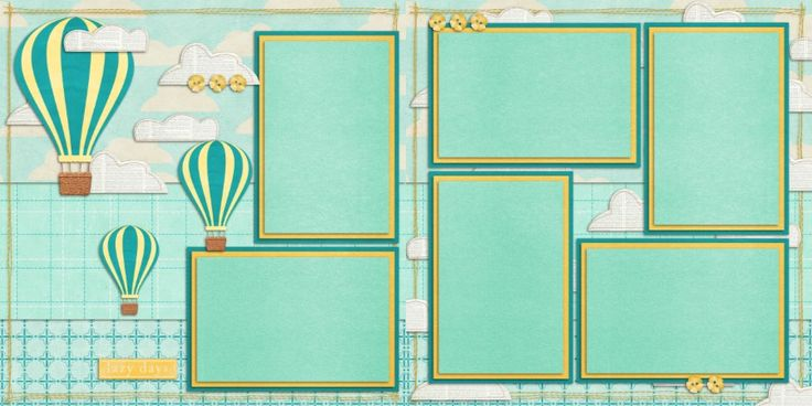 Double Layout Hot Air Balloons Scrapbook Pages by EZscrapbooks.com We offer designs in both Physical AND digital formats. Just add photos!