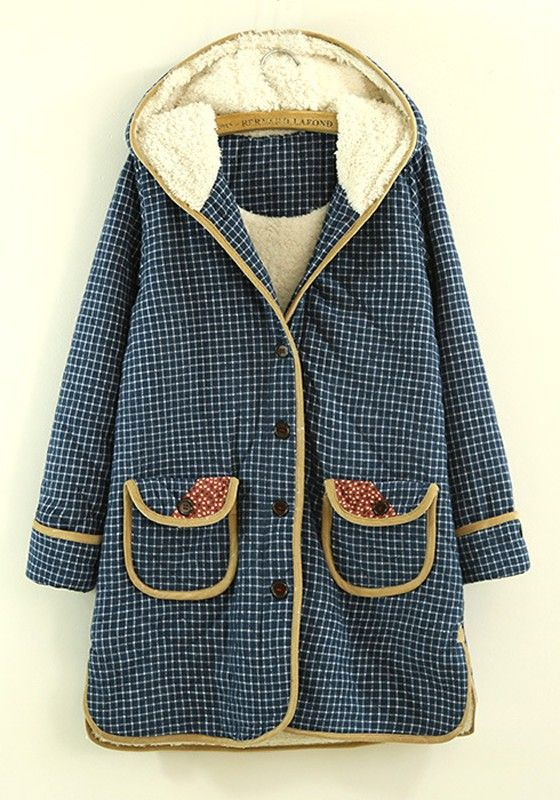 Blue Plaid Long Sleeve Cotton Blend Padded Coat