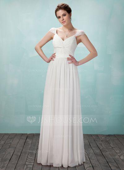 Evening Dresses - $124.99 - A-Line/Princess V-neck Floor-Length Chiffon Evening Dress With Ruffle Beading (017018950) http://jjshouse.com/A-Line-Princess-V-Neck-Floor-Length-Chiffon-Evening-Dress-With-Ruffle-Beading-017018950-g18950