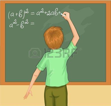 Мальчик пишет на доске. Векторное изображение мальчика в классе. Мальчик решает математические упражнения на доске. photo