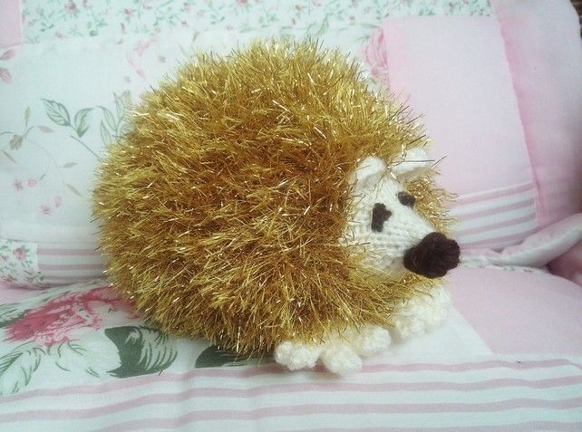 Hedgehog handmade with Gold Tinsel Yarn Knitted Toy For Children And Collectors £10.95