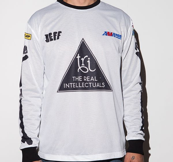 This is the regular fit long-sleeve t-shirt, designed with our TRI bare hands, for our special friend Jeff Carver from Illinois USA! Made with 220Gm polyester airtex jersey fabrication, stiched and printed at The Real Intellectuals atelier.  Find out more about Jeff Carver who is an AMA Pro Flat Track rider:: http://www.amaproracing.com/ft/riders/rider_career.cfm?did=4094