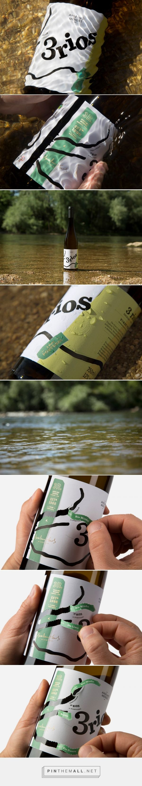 3 Rios (3 Rivers) wine packaging design by Moço - Wine Branding - http://www.packagingoftheworld.com/2017/11/3-rios.html - created via https://pinthemall.net