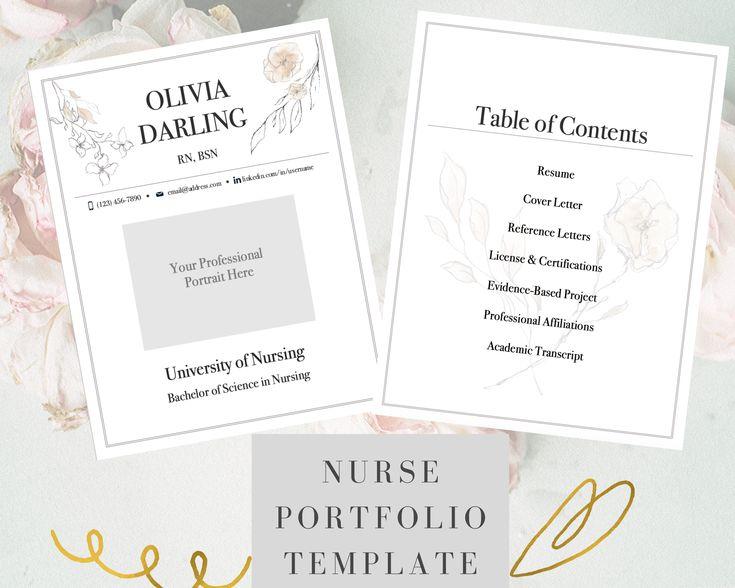 Nursing portfolio template floral registered nurse