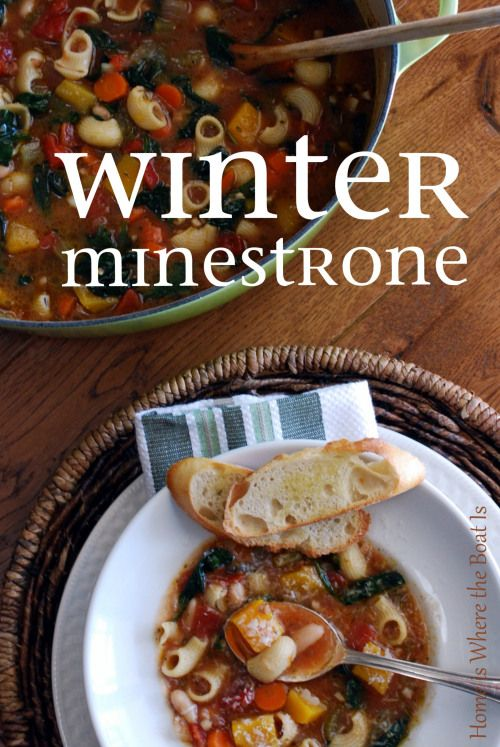 Ina Garten's Winter Minestrone. I can't say enough good things about this soup recipe...foolproof, hearty, comforting, but the proof is in the bowl! http://homeiswheretheboatis.net/  #souprecipe #barefootcontessa #minestrone