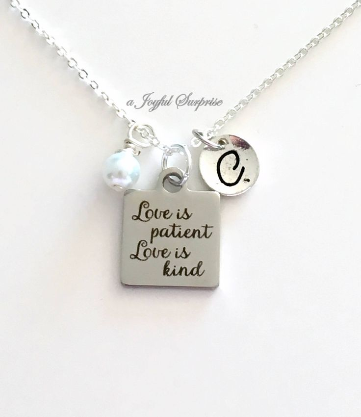 Love is Patient Love is Kind Necklace, Bride Gift, Wedding Jewelry, Newly Wed Anniversary Gift Silver Charm with Initial letter Pearl dangle by aJoyfulSurprise on Etsy