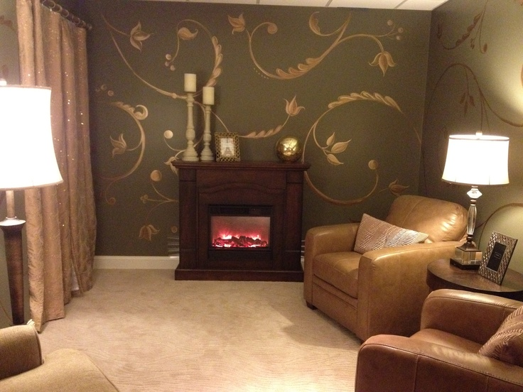 Hand painted vine motif painted in a spa 39 s quiet - Sherwin williams interior paint finishes ...