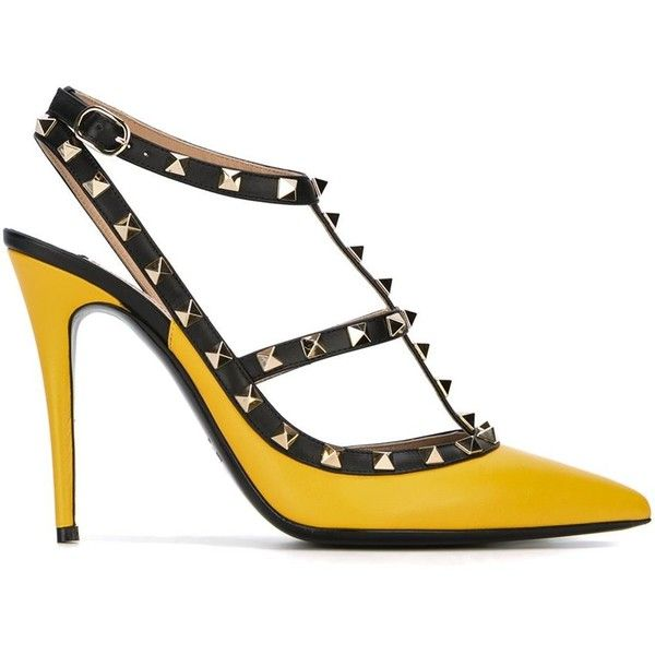 Valentino Garavani Rockstud Pumps (£450) ❤ liked on Polyvore featuring shoes, pumps, pointed toe ankle strap pumps, pointed-toe pumps, ankle strap stilettos, leather shoes and stiletto pumps